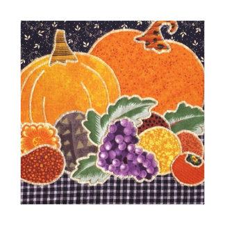 Toile Citrouille de thanksgiving et patchwork d'amis
