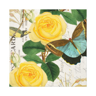 Toile Collage de roses jaunes