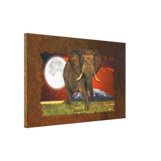 Toile Conception d'art de lune d'éléphant africain et de