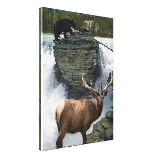 Toile Copie de mur d'art de faune d'élans et d'ours