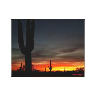 Toile Coucher du soleil avec le cactus géant de saguaro