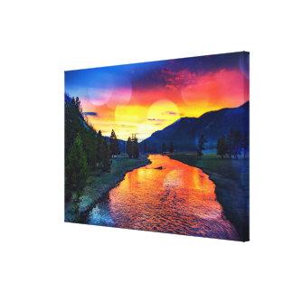 Toile Coucher du soleil de réflexion de la rivière