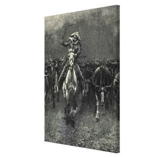 Toile Cowboys vintages, une ruée par Frederic Remington