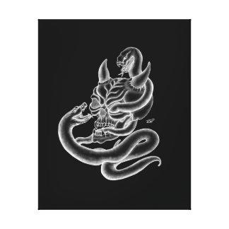 Toile Crâne - têtes de diable avec le serpent