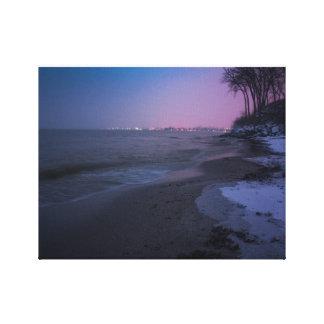 Toile Crépuscule d'hiver sur la plage