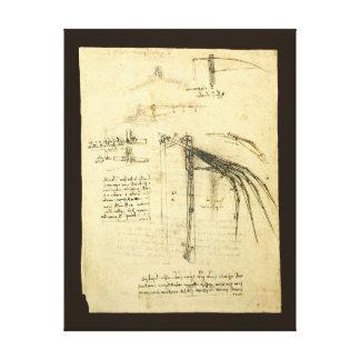 Toile Croquis à ailes de machine de vol par Leonardo da