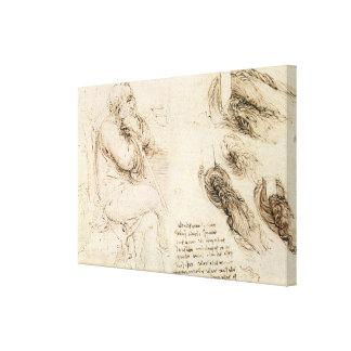 Toile Croquis de vieil homme et d'eau par Leonardo da