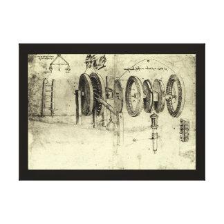 Toile Croquis d'ingénierie d'une roue par Leonardo da