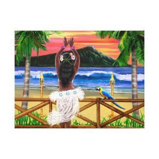 Toile Danseur hawaïen de danse polynésienne de coucher