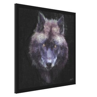 Toile d'art impressionniste de faune de loup noir