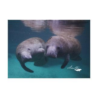 Toile de 2 amis de lamantin avec la photo