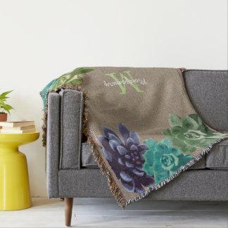 Toile de jute de Faux de Succulents - Couvre Pied De Lit