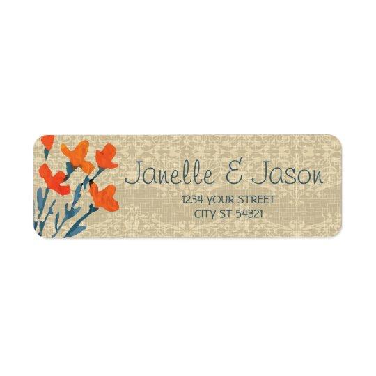 Toile de jute et fleurs oranges, étiquettes de