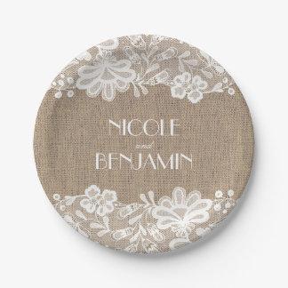Toile de jute et mariage élégant floral de assiettes en papier
