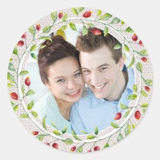 Toile de jute et modèle photo floral de pays de sticker rond