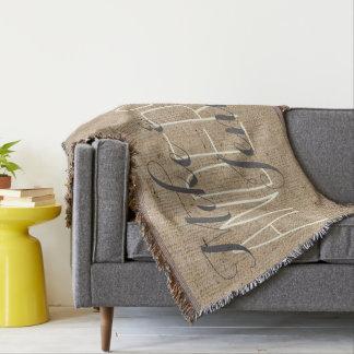 Toile de jute personnalisée épousant des noms de couvre pied de lit