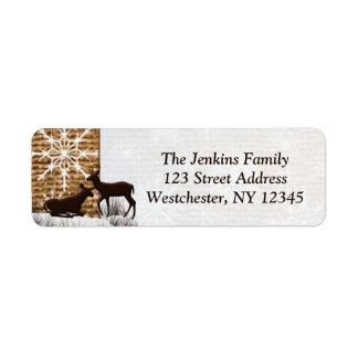 Toile de jute rustique, étiquettes de adresse de étiquettes d'adresse retour