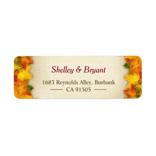 Toile de jute rustique rouge de feuille d'automne étiquette d'adresse retour