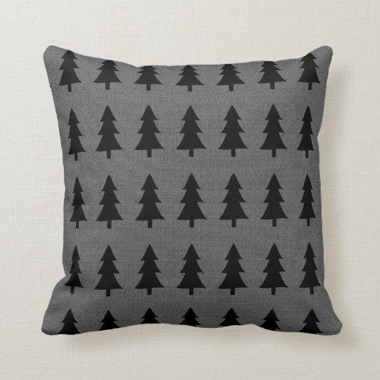 Toile de jute scandinave de gris de style d'arbres coussin