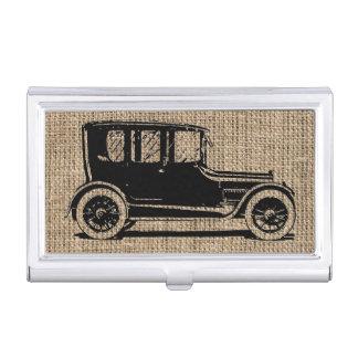 Toile de jute vintage de voiture porte-cartes de visite
