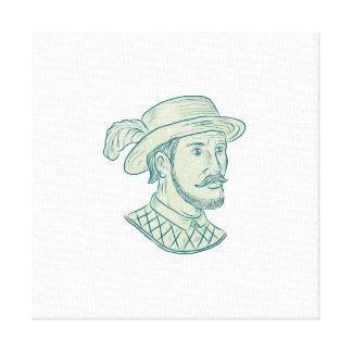 Toile Dessin d'explorateur du maquereau De Léon de Juan