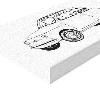 Toile Dessin noir et blanc de Fiat 500 Topolino