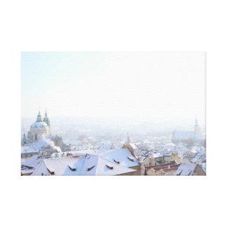 Toile Dessus de toit d'hiver de Prague