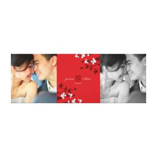 Toile Double art rouge de photo de bonheur et de fleurs