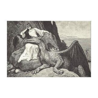 Toile Dragon d'animal familier et la jeune fille