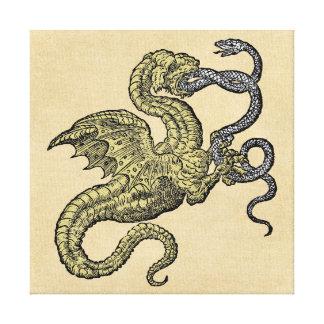 Toile Dragon d'or contre le serpent argenté