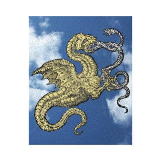 Toile Dragon d'or contre le serpent argenté dans le ciel