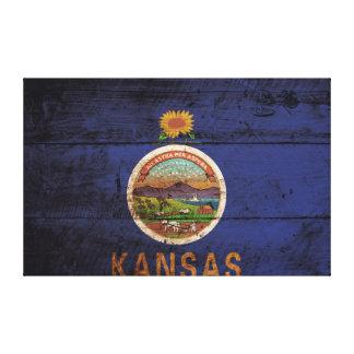 Toile Drapeau d'état du Kansas sur le vieux grain en