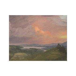 Toile Église de Frederic Edwin - coucher du soleil dans