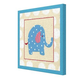 Toile Éléphant bleu avec le pois blanc