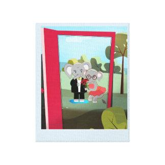 Toile Éléphants mignons de bébé dans une porte rouge