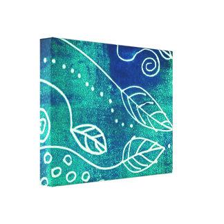 toile enveloppée par bleu abstrait d'art de mur de