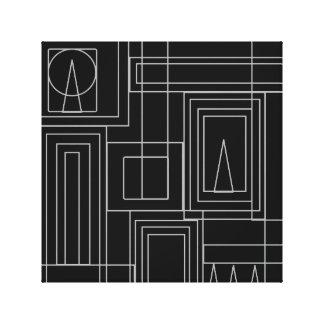 Toile enveloppée par copie monochrome d'art déco