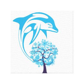 Toile enveloppée par dauphin abstrait