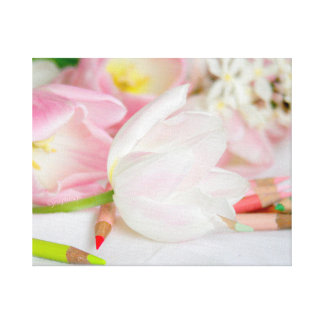 Toile enveloppée par jjhelene blanc rose de tulipe