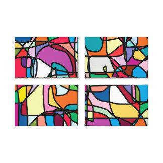 Toile enveloppée par quadruple abstrait de