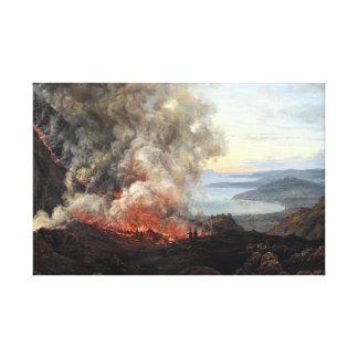 Toile Éruption de Johan Christian Dahl de volcan le