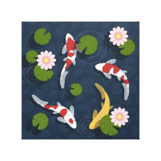 Toile Étang à poissons de Koi de Japonais