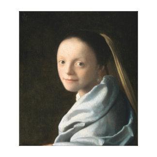 Toile Étude de Johannes Vermeer d'une jeune femme