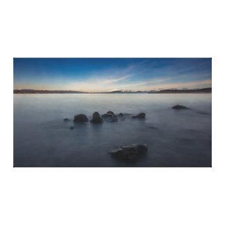 Toile Exposition long de matin rocheux au lac Taupo