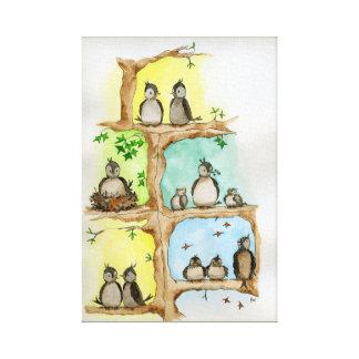 Toile Famille d'oiseau/printemps, été, automne et hiver