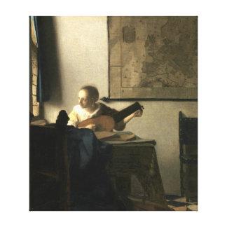Toile Femme de Johannes Vermeer avec un luth