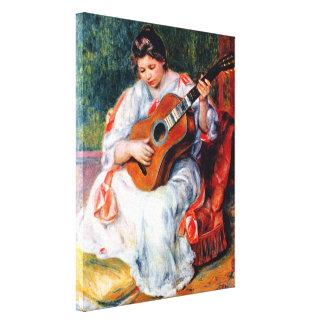 Toile Femme jouant la guitare par Pierre Renoir