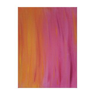 Toile Flambage peinture acrylique orange et rose