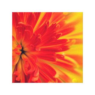 Toile Fleur rouge-orange
