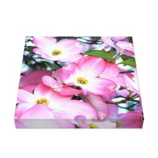 Toile Fleurs roses de cornouiller